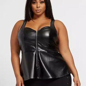 NWT Fashion to Figure Faux-Leather Peplum Top